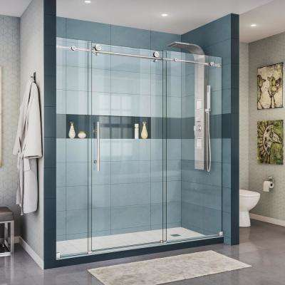 Enigma-X 68 in. to 72 in. x 76 in. Frameless Sliding Shower Door in Polished Stainless Steel