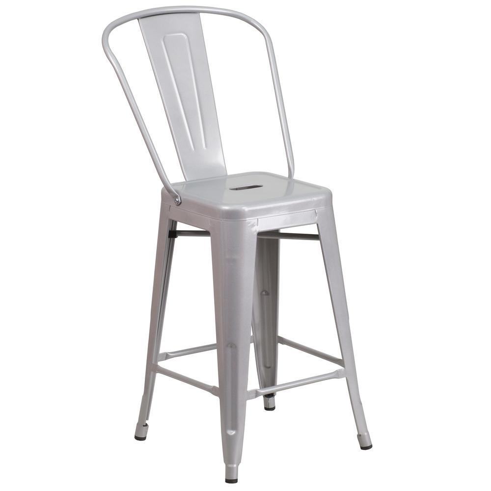 Flash Furniture 24.25 in. Gray Bar Stool CH3132024GBSIL