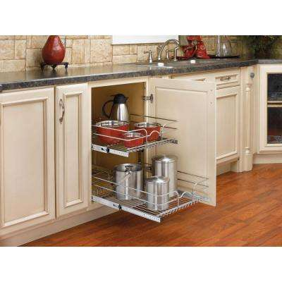 19 in. H x 17.75 in. W x 22 in. D Base Cabinet Pull-Out Chrome 2-Tier Wire Basket