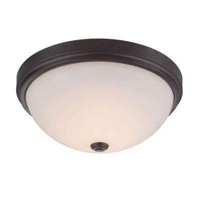 13.25 in. Oil Rubbed Bronze LED Flushmount with Frosted Glass