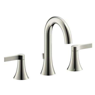 Fontaine Varenne Modern 8 in. Widespread 2-Handle Bathroom Faucet with Drain in Brushed Nickel