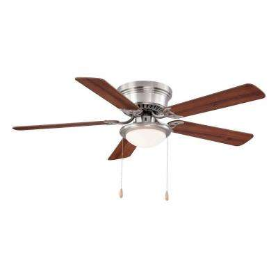 Hugger 52 In Led Indoor Brushed Nickel Ceiling Fan With Light Kit