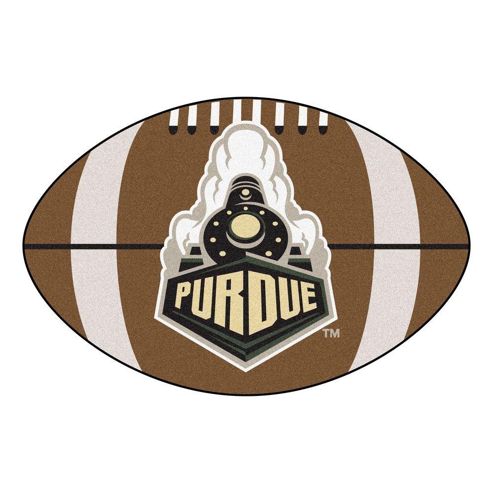 FANMATS NCAA Purdue University P Logo Brown 2 ft. x 3 ft. Specialty Area Rug