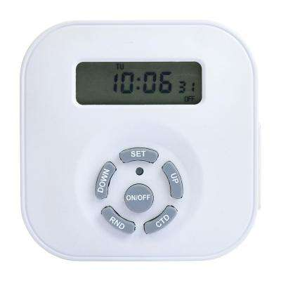Weekly Digital Round Timer, Dual Grounded Outlet, White