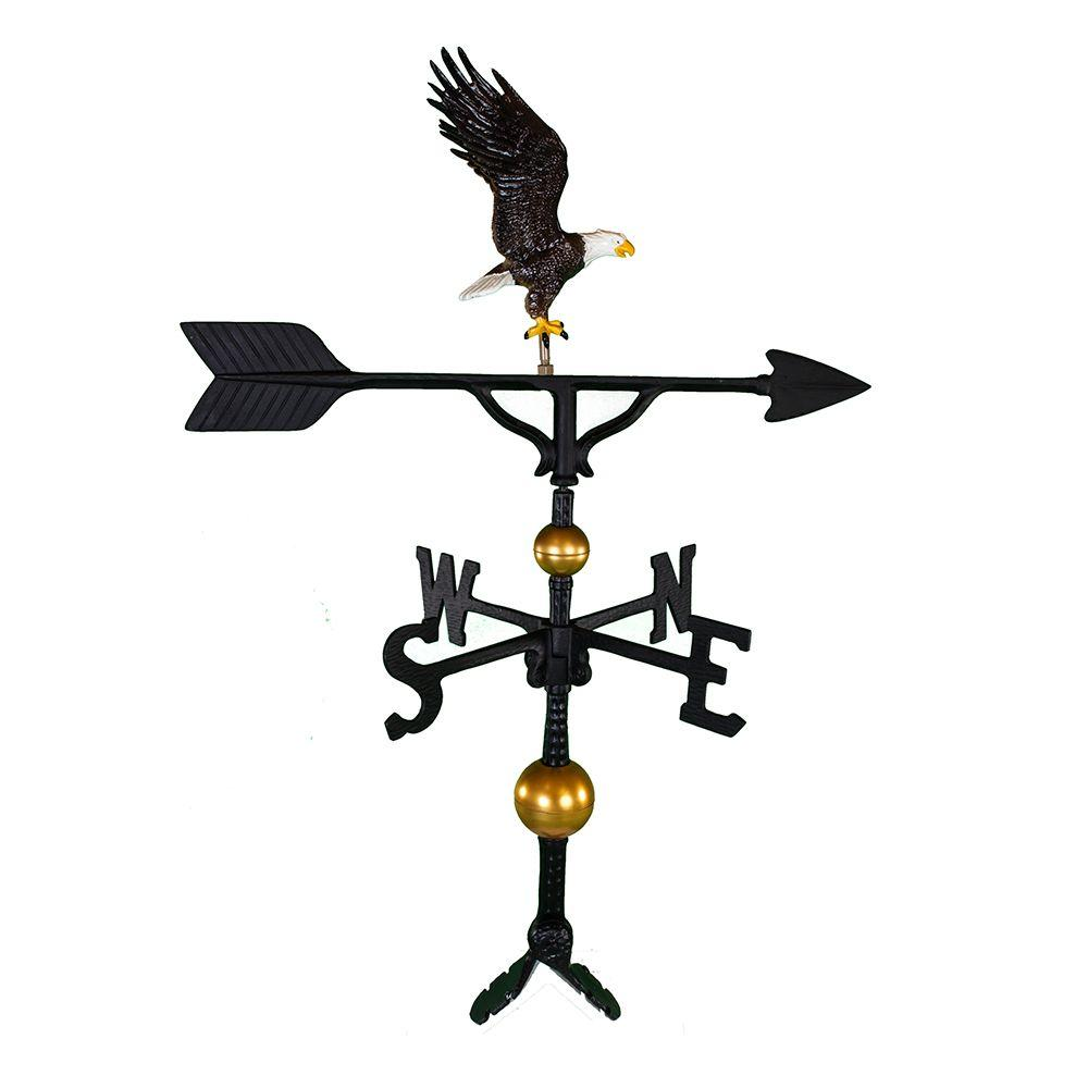 Montague Metal Products 32 in. Deluxe Black Full Bodied Eagle Weathervane