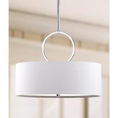 Debonair 3-Light Chrome Drum Pendant with Off-White Shade