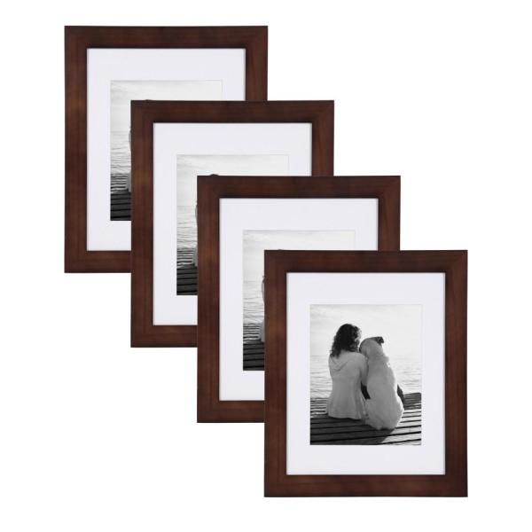 Designovation Museum 11x14 Matted To 8x10 Walnut Brown Picture Frame Set Of 4 213816 The Home Depot