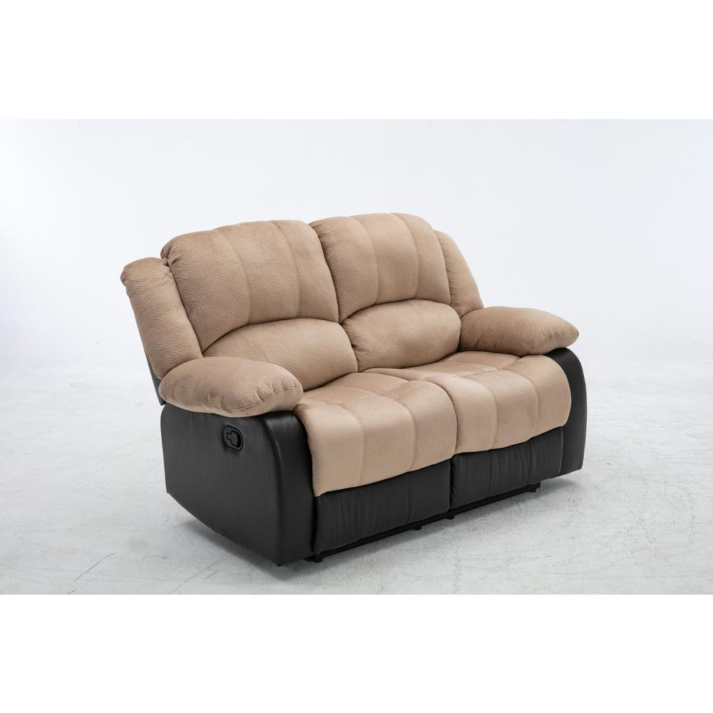 62 in. Beige Microfiber 2-Seater Reclining Loveseat with Round Arms