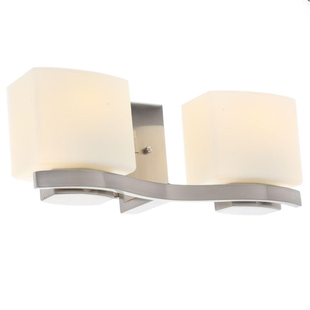 Hampton Bay 2-Light Brushed Nickel Vanity Light with Etched White Glass  Shades