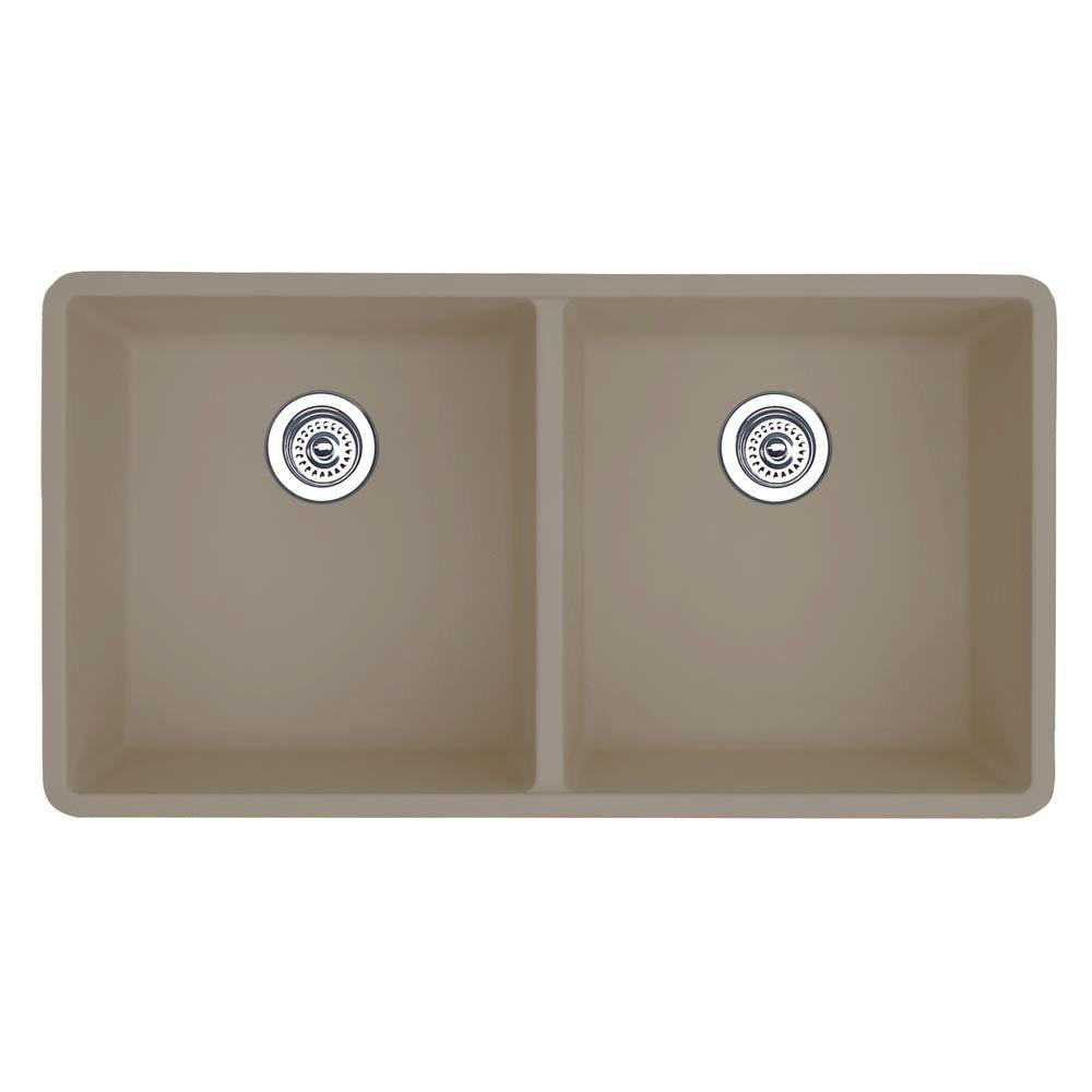 Blanco Precis Undermount Granite Composite 30 in. 0-Hole Equal Double Bowl Kitchen Sink in Truffle