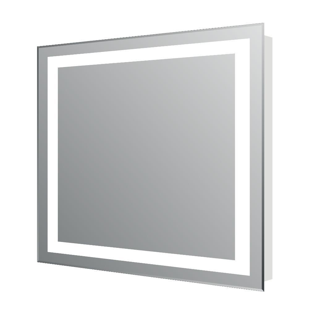 Lite 24 in. W x 30 in. H Frameless Rectangular Bathroom Vanity Mirror in Aluminum