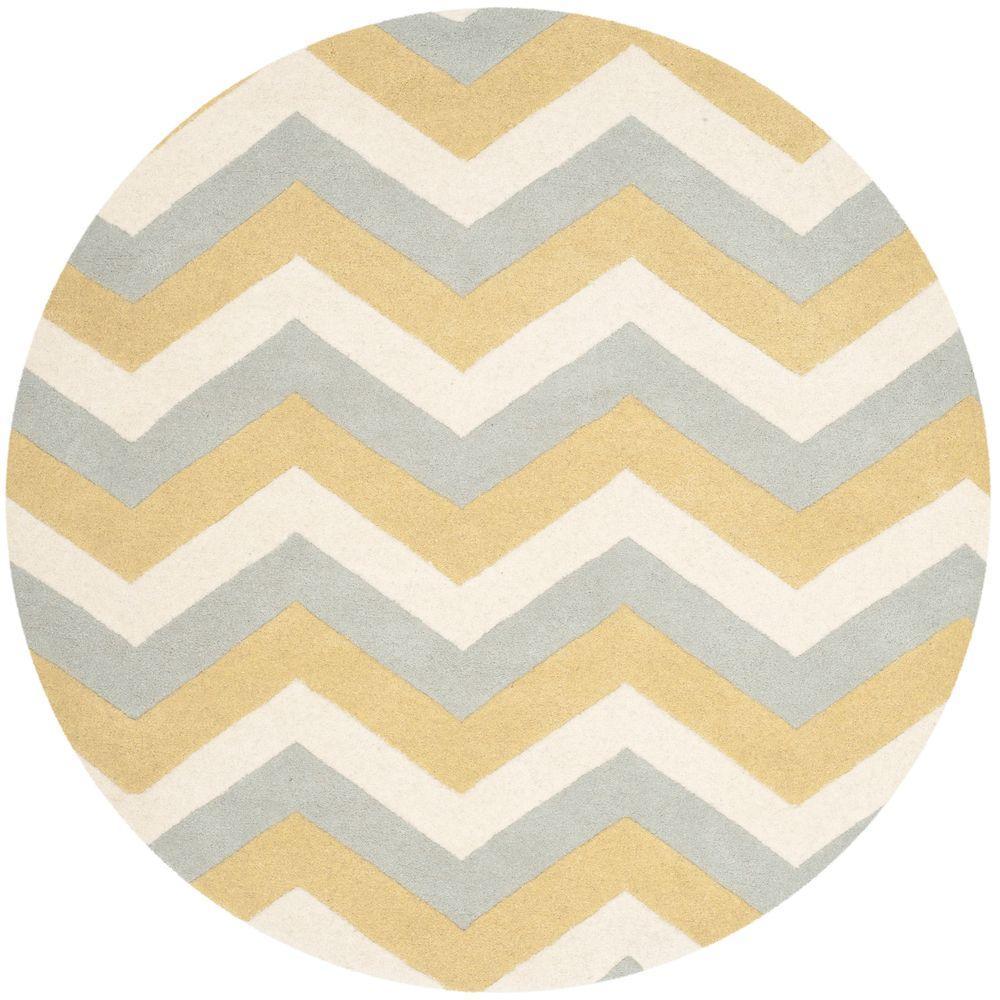 Safavieh Chatham Grey/Gold 5 Ft. X 5 Ft. Round Area Rug