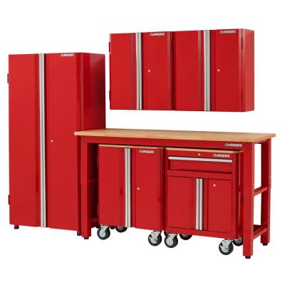 108 in. W x 98 in. H x 24 in. D Steel Garage Cabinet Set in Red (6-Piece)