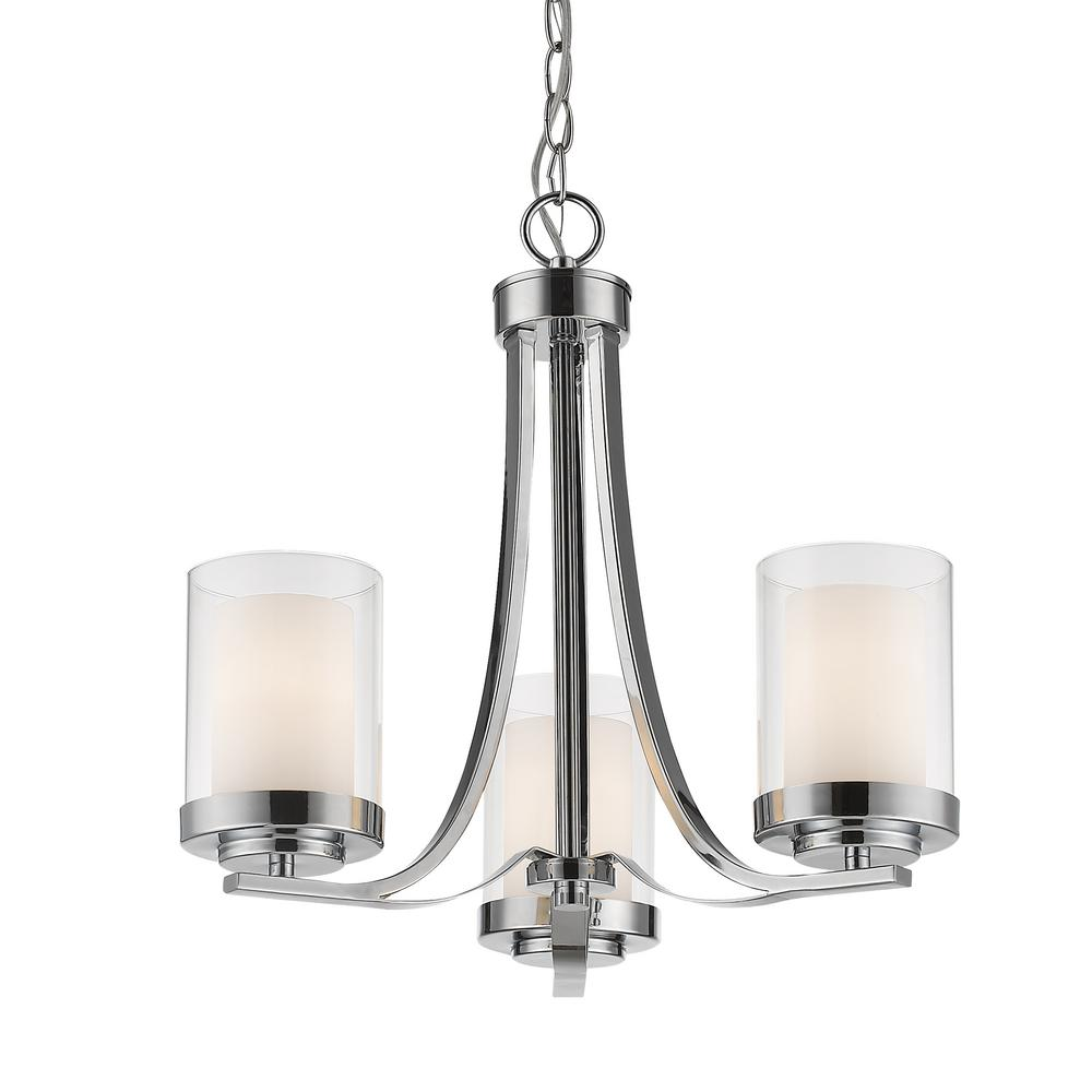 Lara 3-Light Chrome Chandelier with Clear and Matte Opal Glass Shade