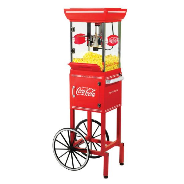 Nostalgia Coca-Cola Old Fashioned Popcorn Machine and Cart CCP399COKE