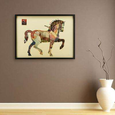 "30 in. X 40 in. ""Carousel Horse"" Dimensional Collage Framed Graphic Art Under Glass"
