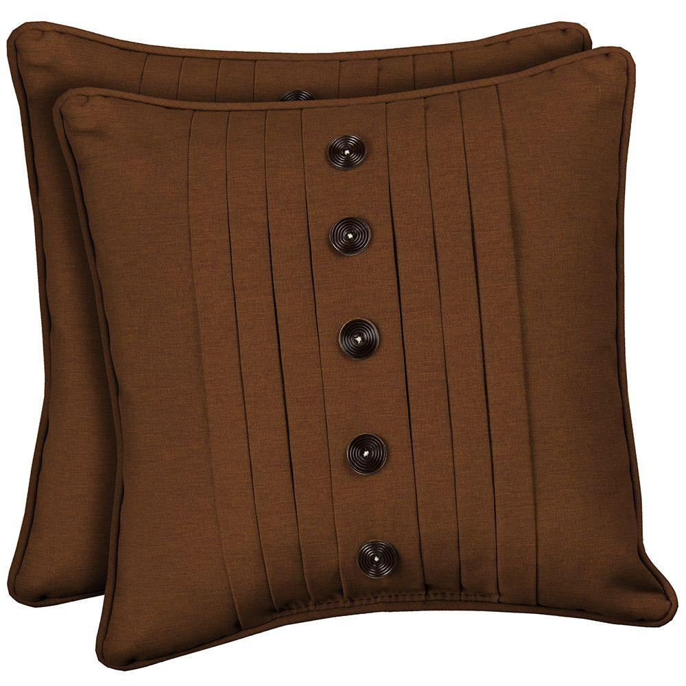 Hampton Bay Cayenne Texture Pleated Outdoor Throw Pillow with Buttons (2-Pack)-DISCONTINUED