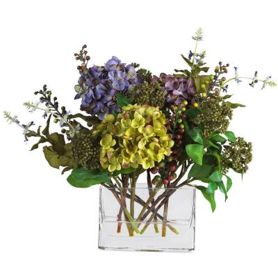 12 in. Mixed Hydrangea Silk Flower Arrangement with Rectangle Vase