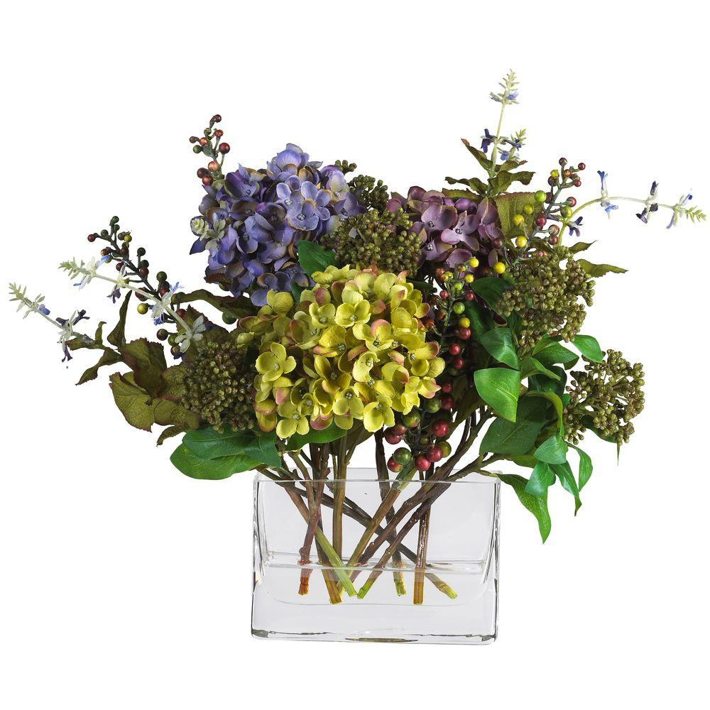 Nearly Natural 12 In Mixed Hydrangea Silk Flower Arrangement With Rectangle Vase