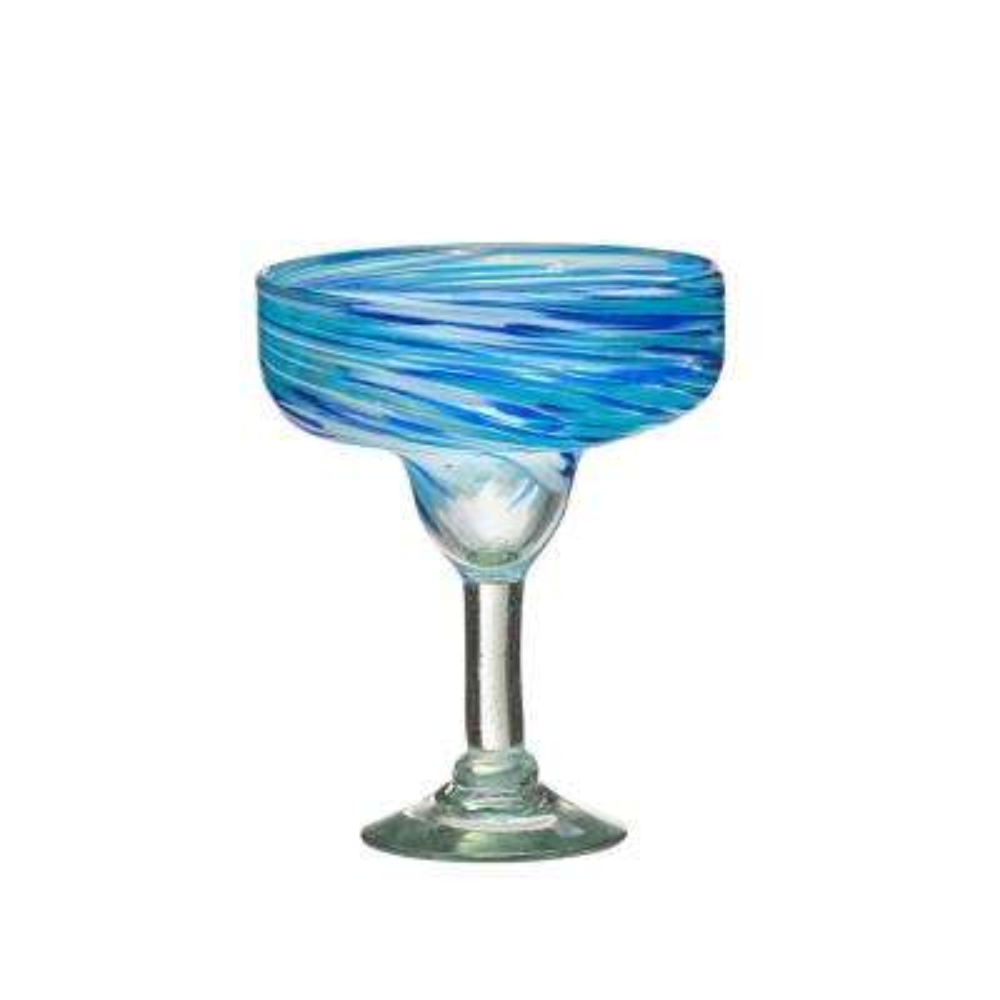 Malibu 15 oz. 4-Piece Blue-White Glass Margarita Drinkware