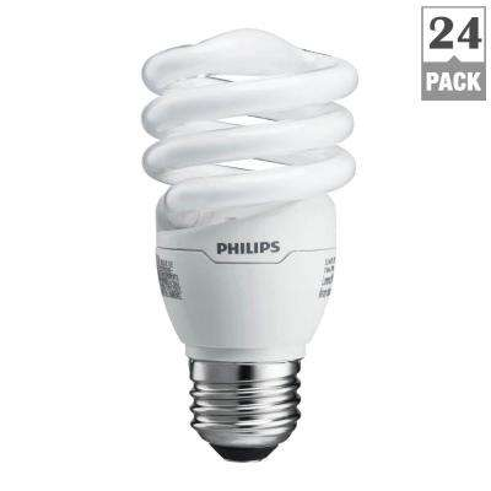 60-Watt Equivalent T2 Spiral CFL Light Bulb Soft White (24-Pack)