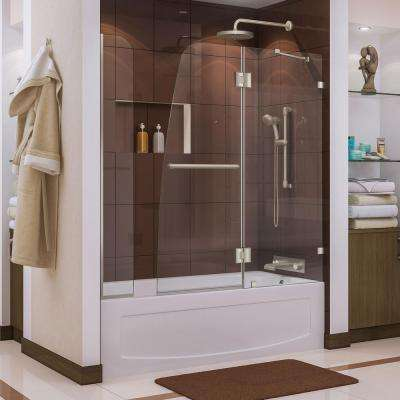 Aqua Lux 56 to 60 in. x 58 in. Semi-Framed Hinged Tub Door in Brushed Nickel