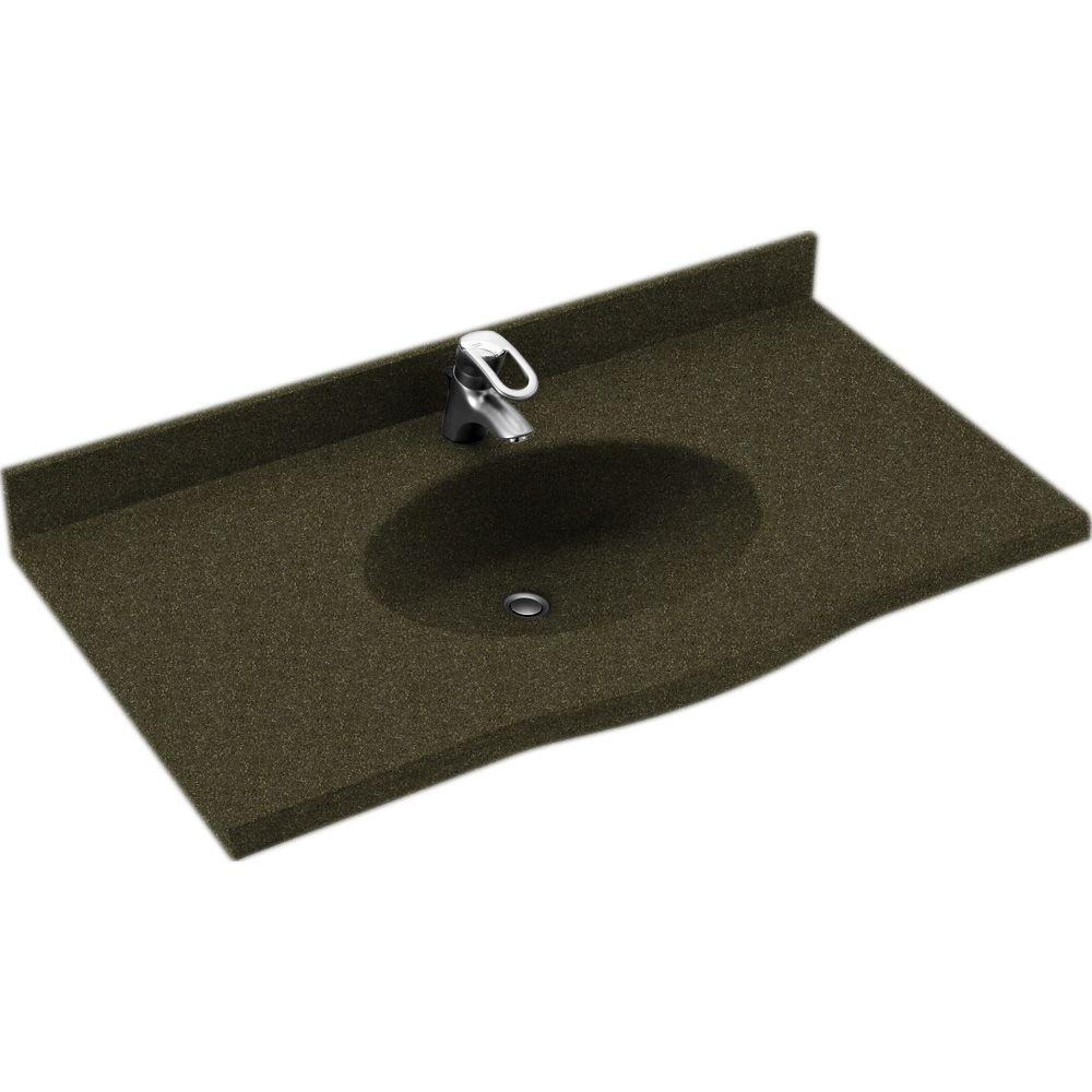 Swanstone Europa 43 in. Solid Surface Vanity Top with Basin in Green Pasture-DISCONTINUED