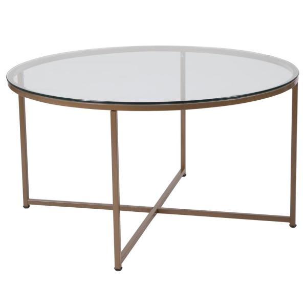 Gold Coffee Table Glass Top.Clear Matte Gold Coffee Table