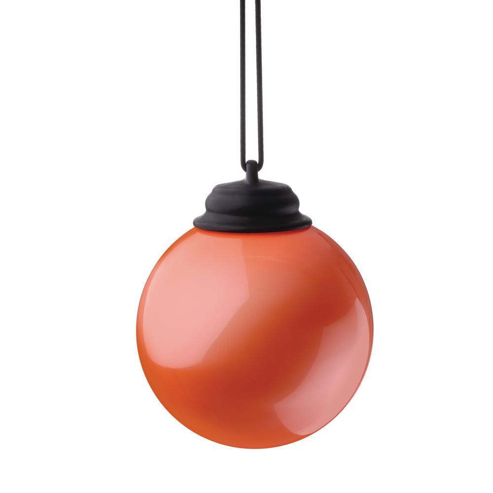 5 in. Orange LED Hanging Patio Globe