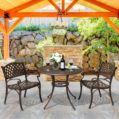 3-Piece Cast Aluminum Outdoor Dining Set with 36 in. Round Table and 2 Arm Chairs in Antique Bronze