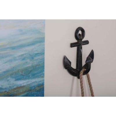 5 in. x 7 in. Coastal-Living Iron Classic Anchor Wall Hooks in Distressed Finish (4-Pack)