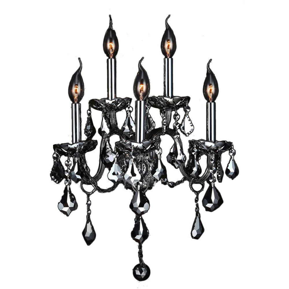 Worldwide Lighting Provence Collection 5-Light Chrome Crystal Sconce
