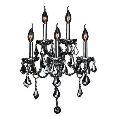 Provence Collection 5-Light Chrome Crystal Sconce