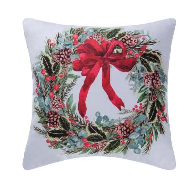 White Holly Berry Wreath Indoor / Outdoor 18 in. x 18 in. Standard Throw Pillow