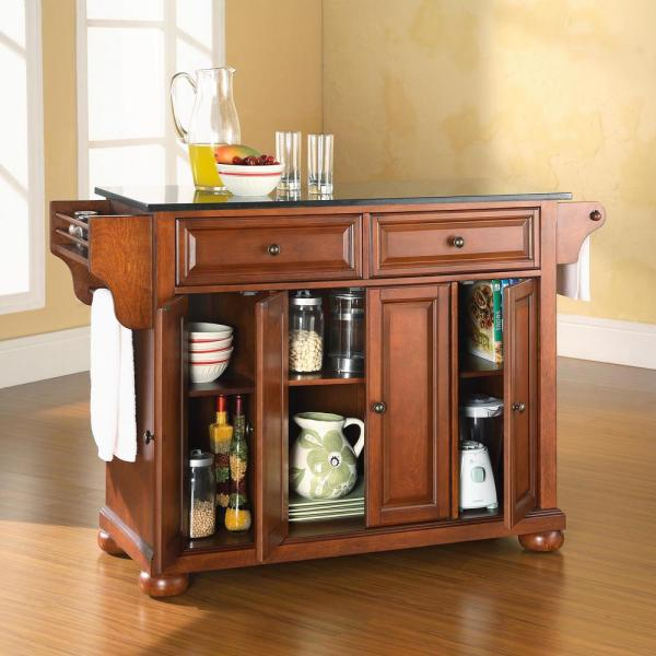 Alexandria Cherry Kitchen Island with Granite Top