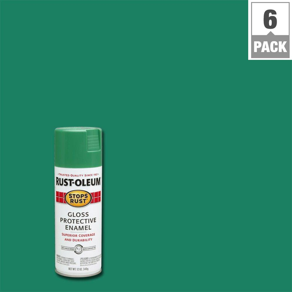 12 oz. Protective Enamel Gloss Grass Green Spray Paint (6-Pack)