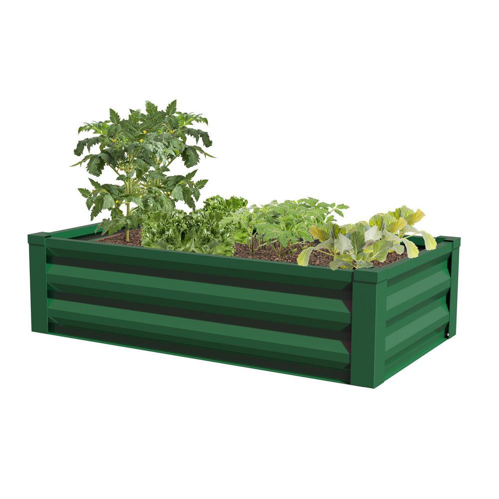 X 12 In Green Metal Raised Garden Bed