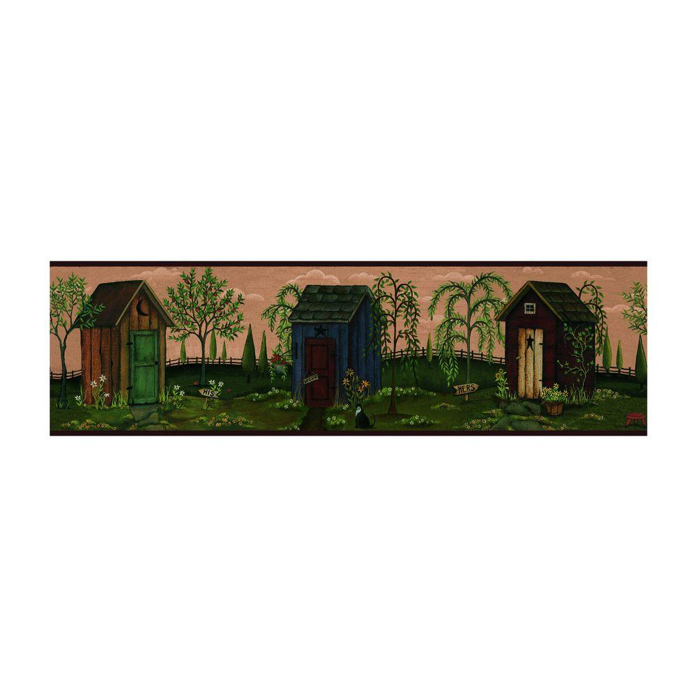 York Wallcoverings 6 in. Outhouse Border-DISCONTINUED