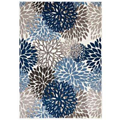 Calithea Vintage Classic Abstract Floral 5 ft. x 8 ft. Area Rug in Blue, Brown and Beige