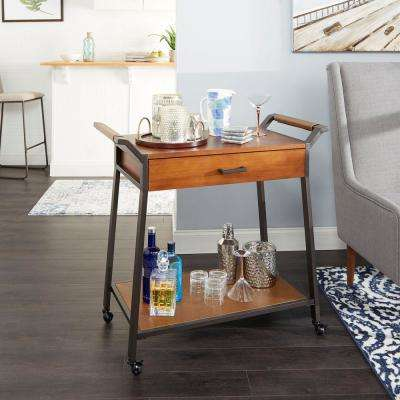 Cohen Brown and Black Kitchen Cart with Drawer