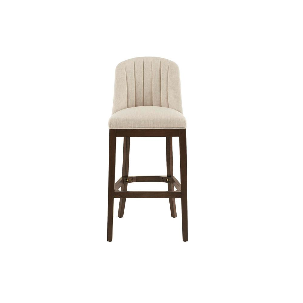 Ingram Upholstered Bar Stool with Channel Tufted Back and Biscuit Beige Seat (20 in. W x 45.28 in. H)