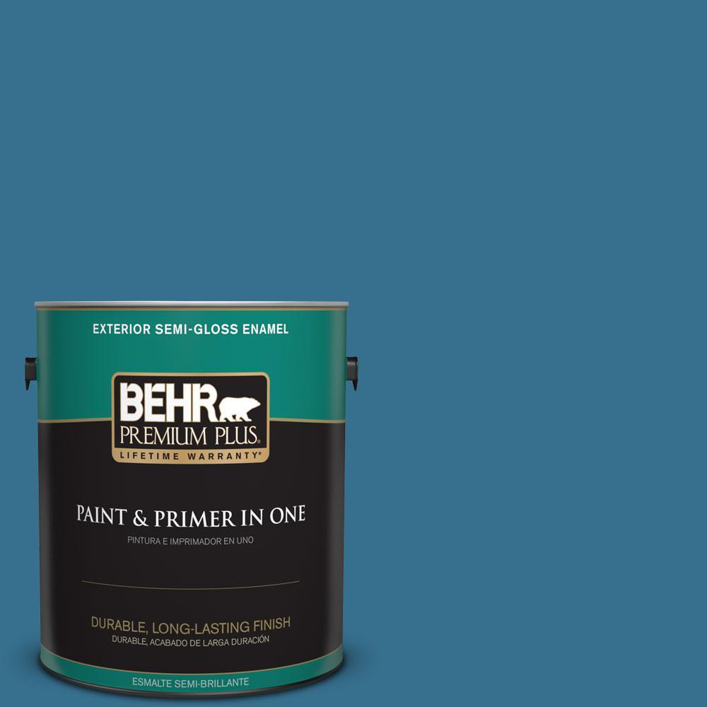 BEHR Premium Plus 1-gal. #M490-6 Living Stream Semi-Gloss Enamel Exterior Paint
