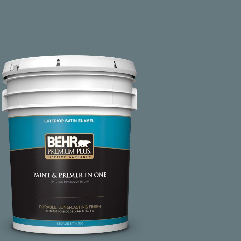 BEHR Premium Plus 5-gal. #BXC-81 Crater Lake Satin Enamel Exterior Paint