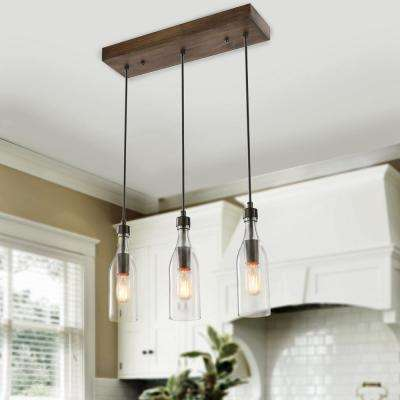 Salvish 3-Light Bronze Wood Linear Island Chandelier with Clear Glass