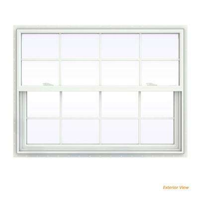 47.5 in. x 35.5 in. V-2500 Series White Vinyl Single Hung Window with Colonial Grids/Grilles