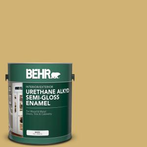 Behr 1 Gal M320 5 Dried Chamomile Urethane Alkyd Semi Gloss Enamel Interior Exterior Paint 393001 The Home Depot
