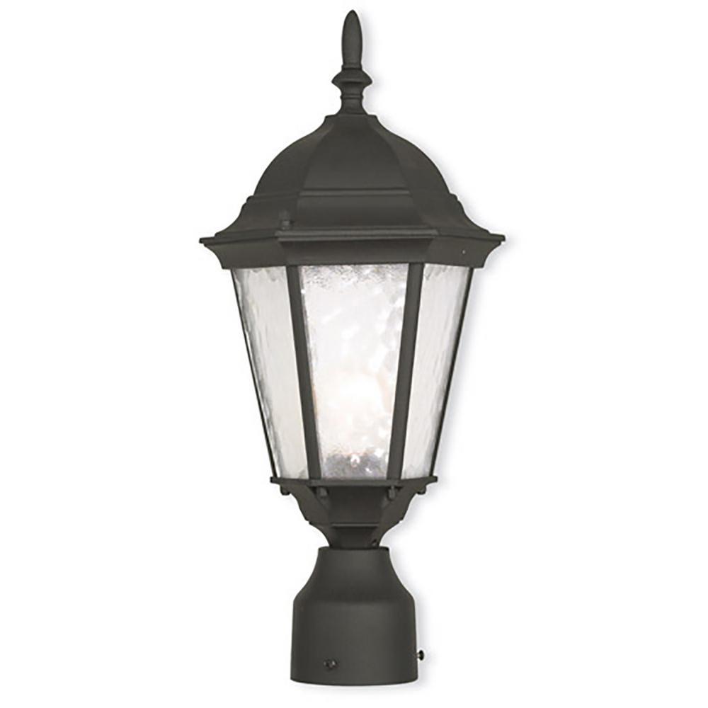 Zexum Black Traditional Driveway Pillar Lamp: Livex Lighting Hamilton 1-Light Outdoor Textured Black