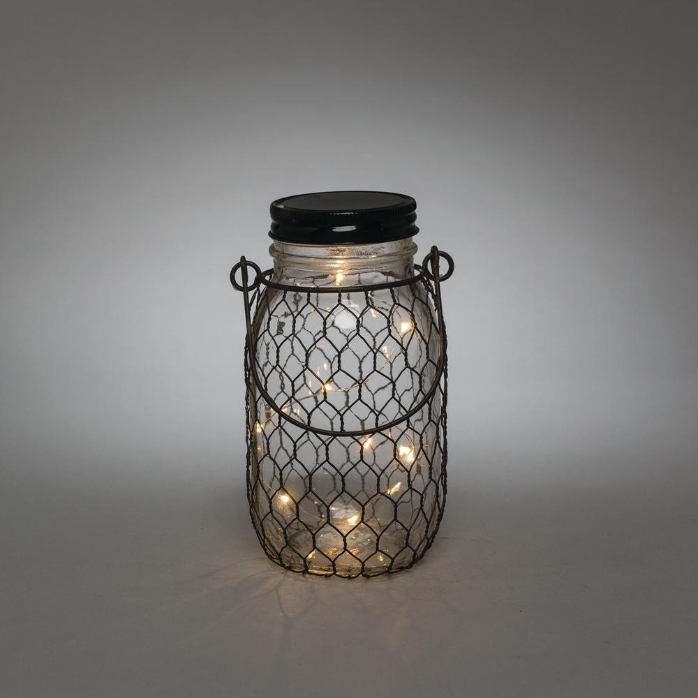 3.5 in. x 7 in. Black Wire LED Lighted Mason Jar