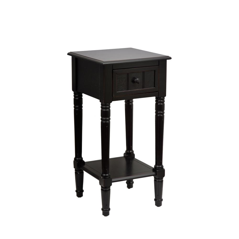 Decor therapy simplify black 1 drawer end table fr1476 for Decor therapy