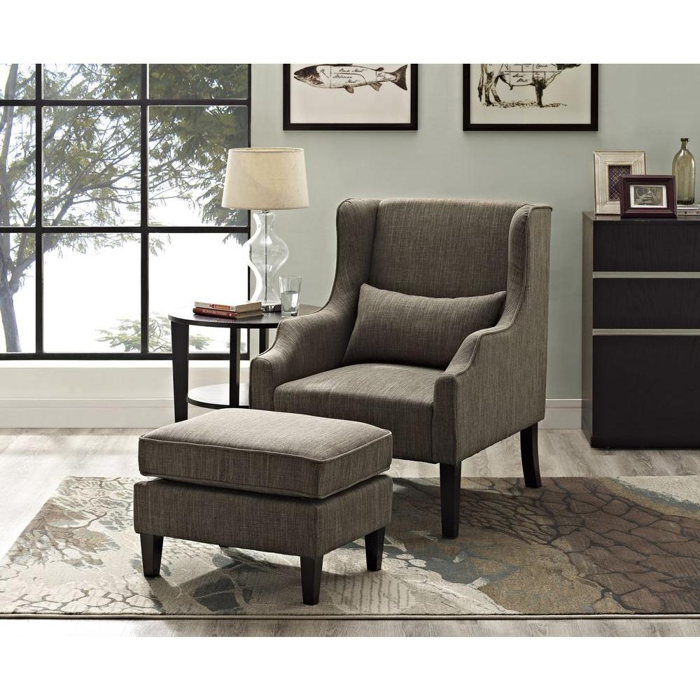 Ashbury Wingback Linen Look Polyester Club Chair with Ottoman in Fawn